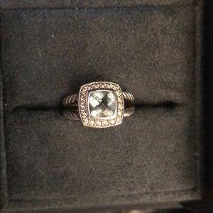 David Yurman Petite Albion prasiolite/diamond ring